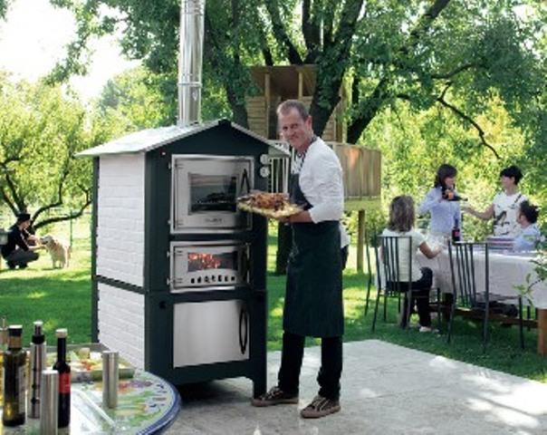 Forni a legna forno a legna in acciaio inox da giardino - Camini da esterno ...